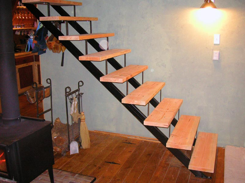 Steel stair stringers and steel railings for Pre built stairs interior